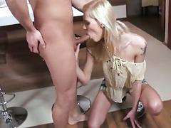 Blonde Sindy Vega blowjob and licking some balls pov