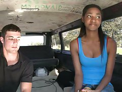 Black cutie chatting while driving in bang bus