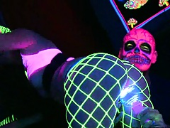 Doggy style at the club with glow sticks