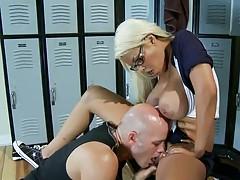 Big tits college babe Bridgette sucking deep throat