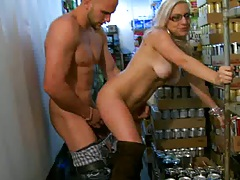 Natural babe latina fucked from the rear in storage rm