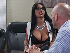 Big tits Anissa Kate in the office getting undressed and tits touched