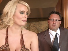 Blonde milf with big tits Kirsten Price and Stormy Daniels lesbian sex action