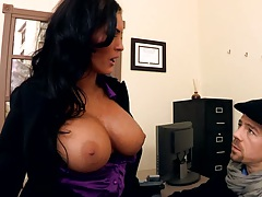 Big tits spicy milf Jenna Presley showing tits in the office and ass licked