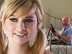 Blonde teen cutie Molly Bennett undressing and sucking penis