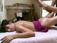 Oil massage with no panties and bra on sexy babe