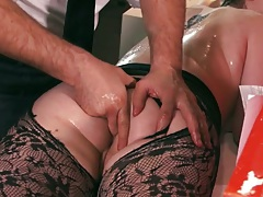 Fingering tight anus on Tessa Lane with oil during massage
