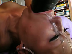 Stuff dripping on asian face after deep throat objects