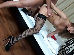Rear entry doggy style fuck standing from behind with Ashley