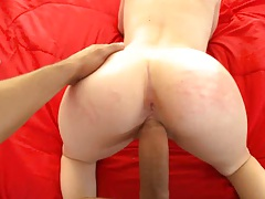 Pink ass from slapping and thumb up her asshole