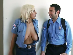 Blonde cop Lylith Lavey flashes her big tits and blows cock