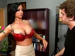 Brunette teacher milf Jewels Jade undressing and going down for suck