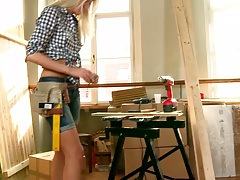 Andrea Francis doing some construction work when interrupted by glory hole dick