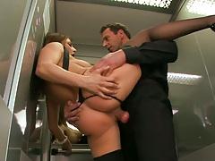Big tits Roberta sits on cock in public elevator