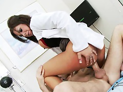 Nurse jumps on patient and fucks him cow girl