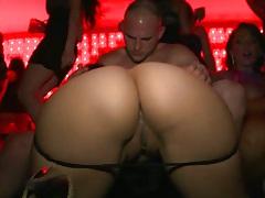 Busty babes having drinks and flashing tits at bar