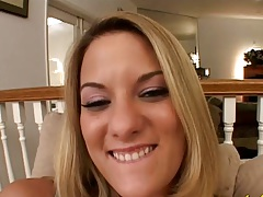 Blonde Delilah Strong shows her big pussy lips vagina with cock entry