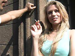 Slut having a smoke outside