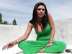 Big tits Eva Angelina sittin down then gets all naked