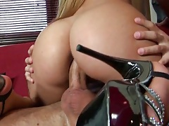 Anal cowgirl penetration for Bibi Noel and ass to mouth blowjob