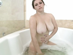 Krista James taking a solo wet shower bath