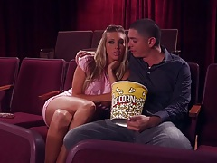 Samantha Saint watching a movie with guy and getting licked