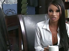Office big tits sluts Raven Bay and team up on dick