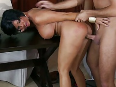 Doggy style Shay fucked hard on kitchen table