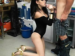 Cute latina in a black dress takes us behind the counter