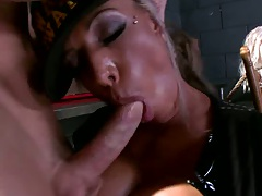 Big tits Carmen Jay spreadds her shaaved pussy