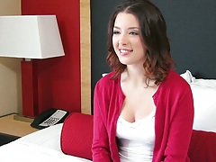 Brunette teen Daisy Summers solo fully clothed interview