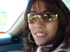 Hot latina driving around