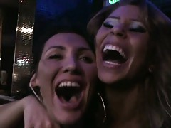 Babes at a club group fucking a male whore