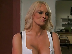 Big tits blonde milf Stormy Daniels makes out and sucks mans penis