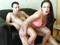 Wife reverse cowgirl riding dick with Dashik