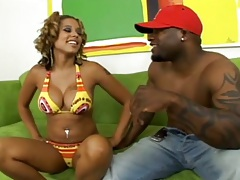 Bikini ebony girl Alana Lee ets her black ass pumped by black cock