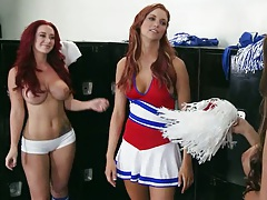 Cheerleader meat up in the locker room with Jayden Cole and Jayden Jaymes
