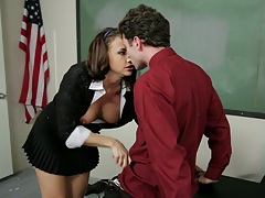 Teacher gets a blowjob from big tits student Chanel