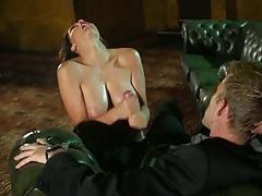 Handjob with big tits Emma Leigh