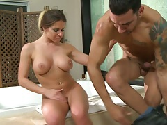 Big tits Rachel Roxxx titty fucking in the bathroom with deep blowjob sucking