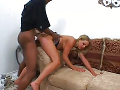 Sarah Sun gets fucked from behin on sofa