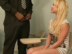 Charity Love blonde gives black teacher a blowjbo