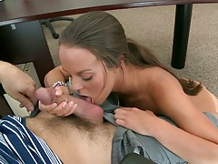 Blowjob from Rahyndee going down and getting naked then spreading it