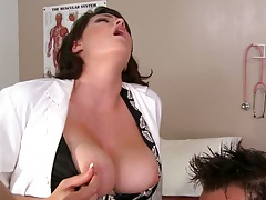 Big tits doctor reverse blowjob and sucking