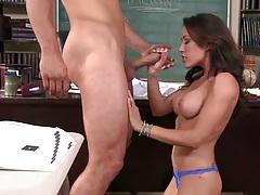 Student stuffs teachers with cock behind desk