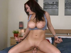 Big tits shaved pussy babe on reverse cowgirl fuck