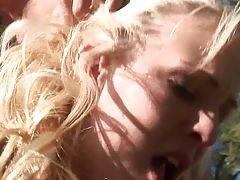 Pumping an 18 year old bondaged teen outdoors