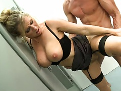 Teacher goes out of the stall to get a nice cock in
