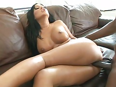 Sideways interracial fucking with big tits Angelica Heart