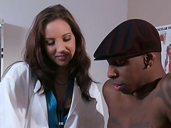 Horny nurse Kelly Devine gets a black cock patient she sucks in hospital